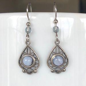 Brushed Silver & Blue Drop Earrings